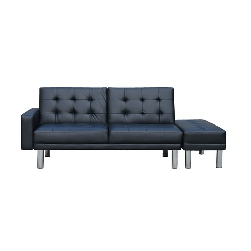 KOutdoorCollective Collection Futon 3 Seater Faux Leather Sofa Bed with Ottoman