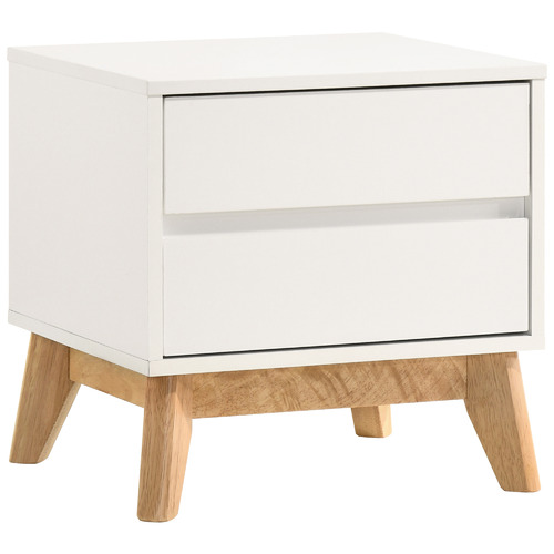 Kodu White Anderson 2 Drawer Bedside Table
