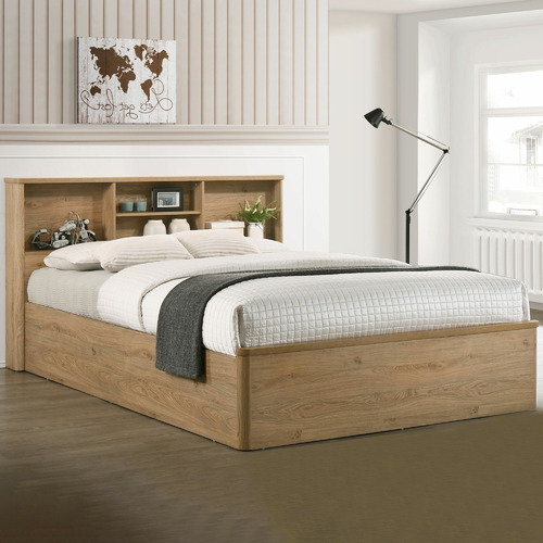 Kodu Natural Anderson Queen Bed with Bookcase Headboard