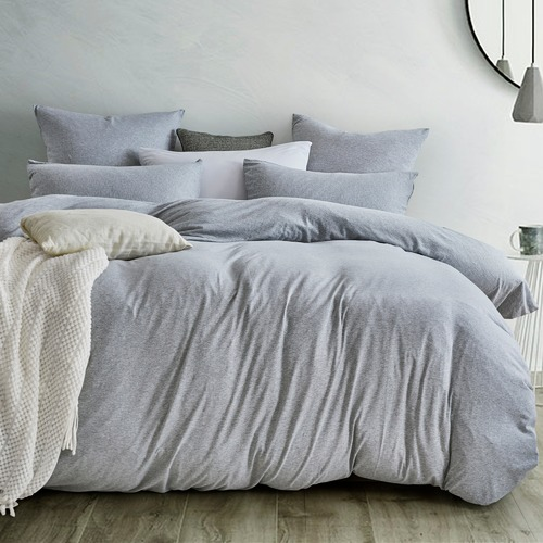 Gioia Casa Grey Marle Jersey Cotton Quilt Cover Set