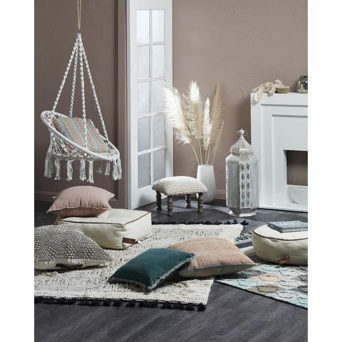 MrJasonGrant Round Utility Cotton & Leather Floor Cushion