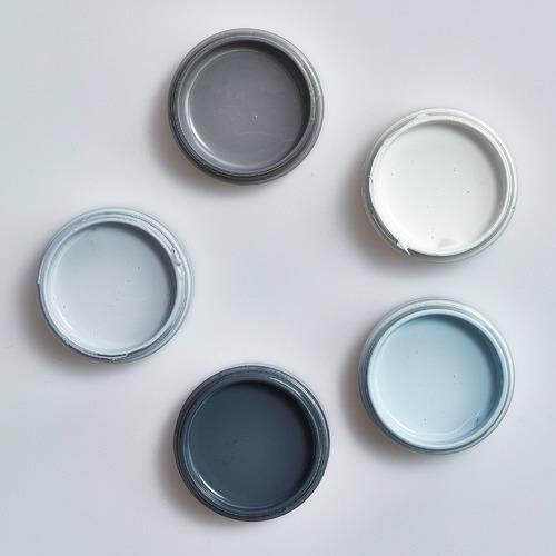 Temple & Webster Grey Blues Interior Paint Sample Pots & Brush