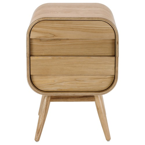 Temple & Webster Hugo Bedside Table 2 Drawer Scandinavian Style