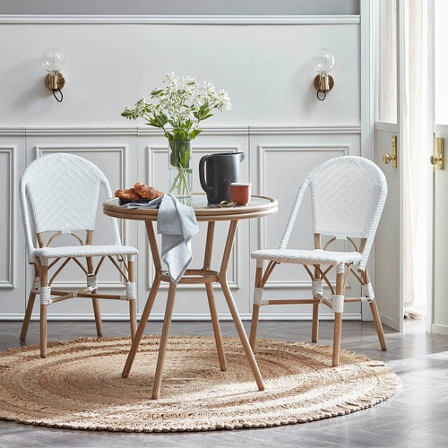 Paris Wicker Cafe Round Dining Table