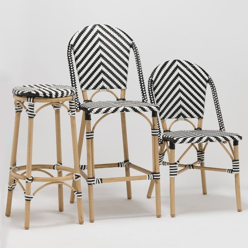 Temple & Webster Black & White Paris Faux Wicker Cafe Dining Chairs