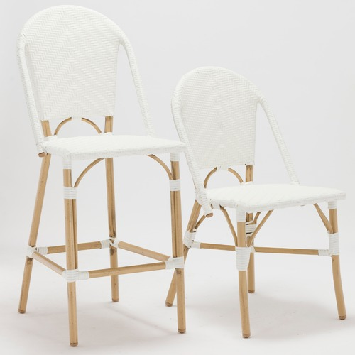 White Paris Faux Wicker Cafe Dining Chairs