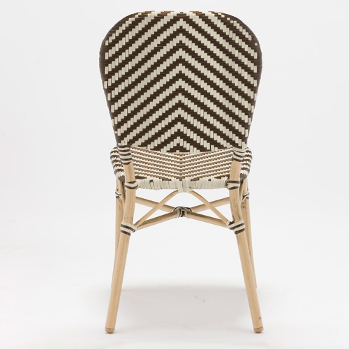 Temple & Webster Taupe & White Paris PE Rattan Cafe Dining Chairs