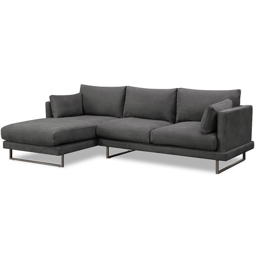 3 Seater Grey Zanda L-Shaped Sofa