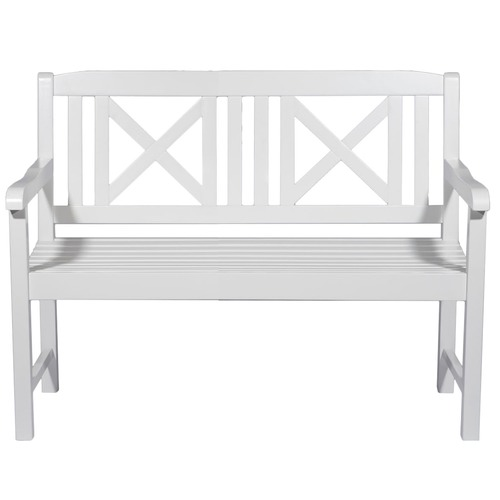 Temple & Webster Santa Cruz White 2 Seater Outdoor Timber Bench