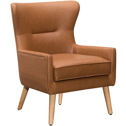 Light Brown Jacob Faux Leather Wingback Armchair