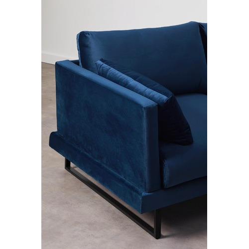 Temple & Webster 3 Seater Navy Velvet Zanda L-Shaped Sofa