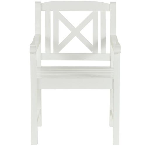 Temple & Webster White Santa Cruz Acacia Wood Outdoor Armchair
