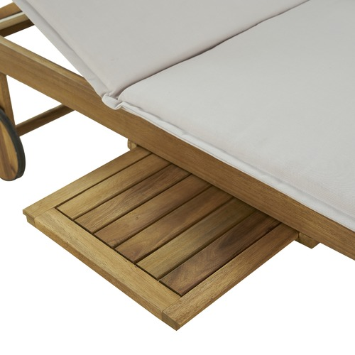 Temple & Webster Monaco Wheeled Outdoor Hardwood Sun Lounger