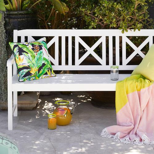 Temple & Webster White Santa Cruz 2 Seater Acacia Wood Outdoor Bench
