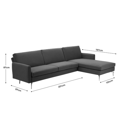 Temple & Webster Brixton 3 Seater Chaise Sofa