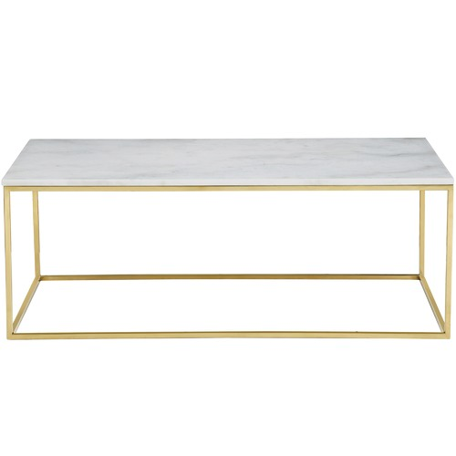 Temple & Webster 120cm White Siena Marble Coffee Table