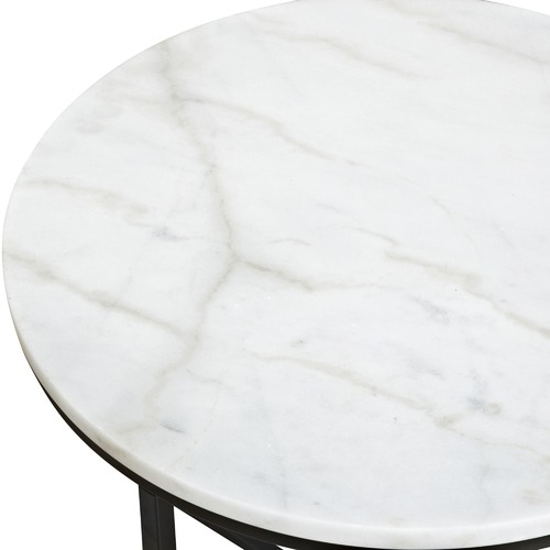 Temple & Webster 50cm Round White Siena Marble Side Table