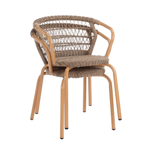 Temple & Webster Brown Raffles PE Rattan Outdoor Dining Chairs
