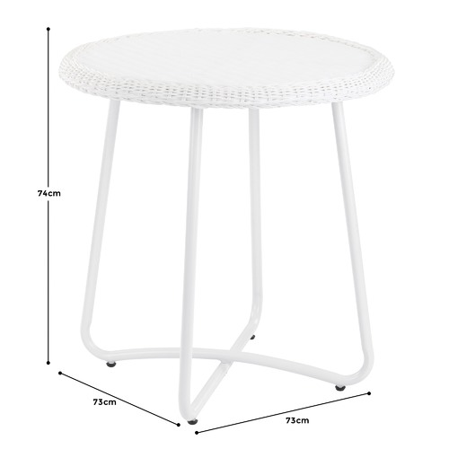 Temple & Webster White Raffles PE Rattan Outdoor Breakfast Table