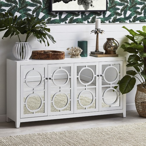 Temple & Webster White Catalina Mirrored Luxe Buffet