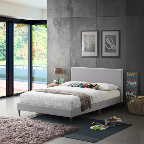Temple & Webster Grey Logan Upholstered Bed