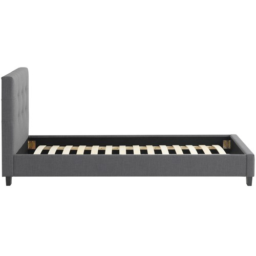 Temple & Webster Dark Grey Arne Tufted Upholstered Bed