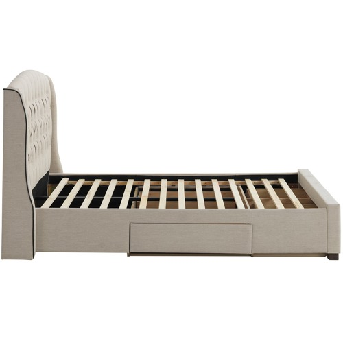 Temple & Webster Beige Audrey Tufted Wingback Bed
