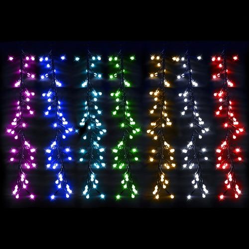 new style a1551 760ed 336 Multi-Coloured LED Rainbow Cluster Curtain Lights