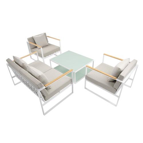 Temple & Webster 4 Piece Santorini Deluxe Outdoor Lounge Set