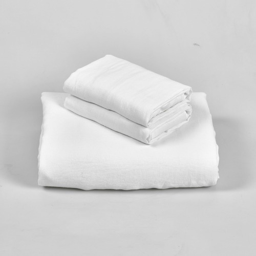 Temple & Webster White Vintage Wash Pure Linen Quilt Cover Set