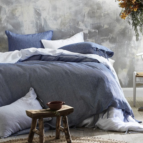 Temple & Webster Navy Yarn Dyed Stripe Pure Linen Quilt Cover Set
