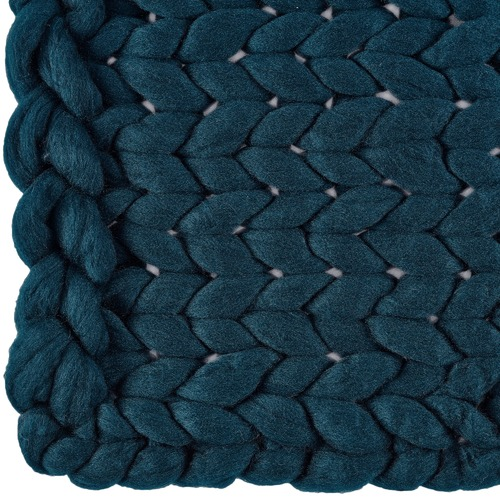 Temple & Webster Ink Blue Chunky Knit Throw