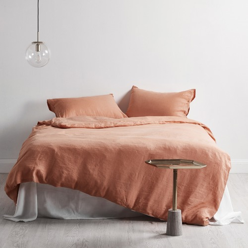 Temple & Webster Burnt Melon Linen Quilt Cover Set