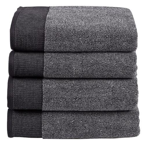 Temple & Webster 4 Piece Charcoal Marle Bathroom Towel Set