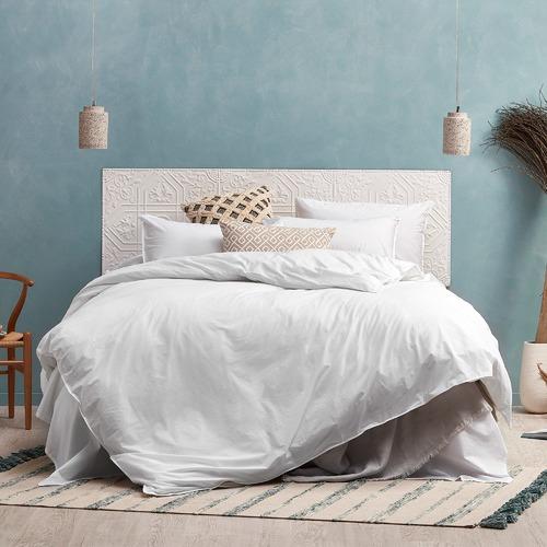Temple & Webster White Vintage Washed  Cotton Quilt Cover Set