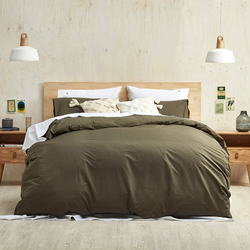 Temple & Webster Olive Vintage Washed Cotton Quilt Cover Set