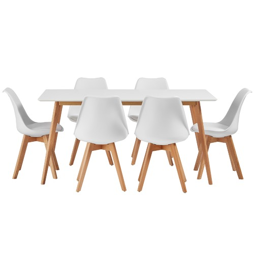 low priced 08d11 be3f9 6 Seater Nova Oak Wood Dining Table & Chairs Set