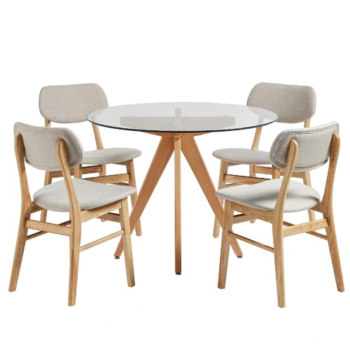b29806bc92 4 Seater Sand Soho Beech Wood Dining Table & Chairs Set   Temple ...