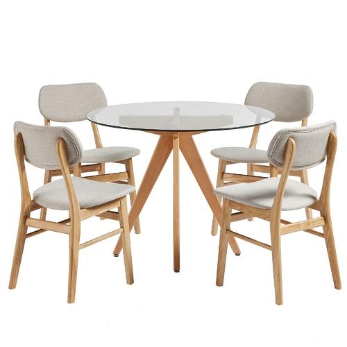 Brilliant 4 Seater Sand Soho Beech Wood Dining Table Chairs Set Customarchery Wood Chair Design Ideas Customarcherynet