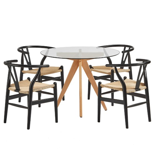 Temple & Webster 4 Seater Greer Dining Table & Wishbone Chairs Set