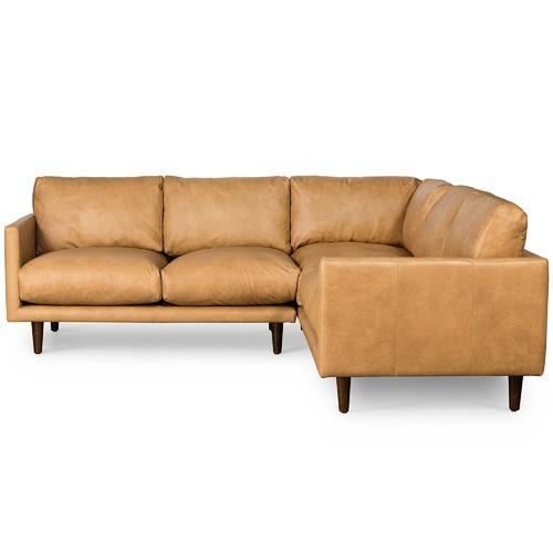 Temple & Webster Carson Italian Leather Corner Sofa