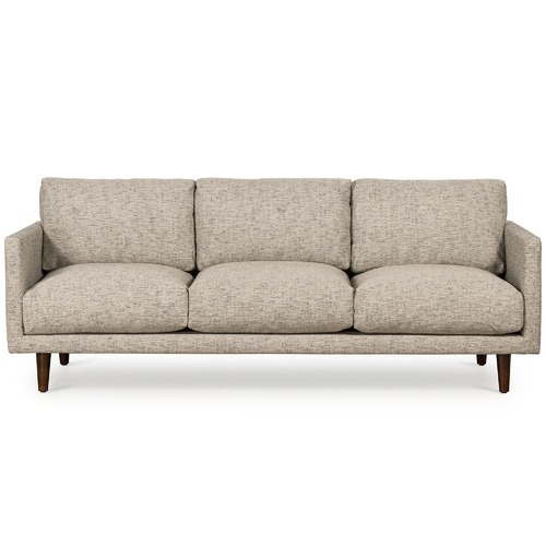 Temple & Webster Grey Carson 3 Seater Upholstered Sofa