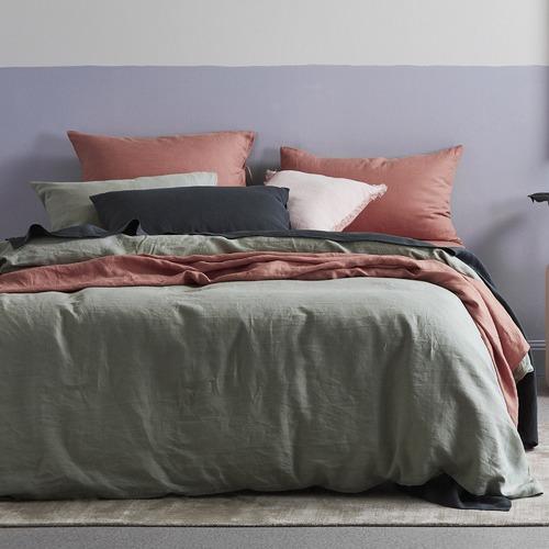 Temple & Webster Sage Linen Quilt Cover Set