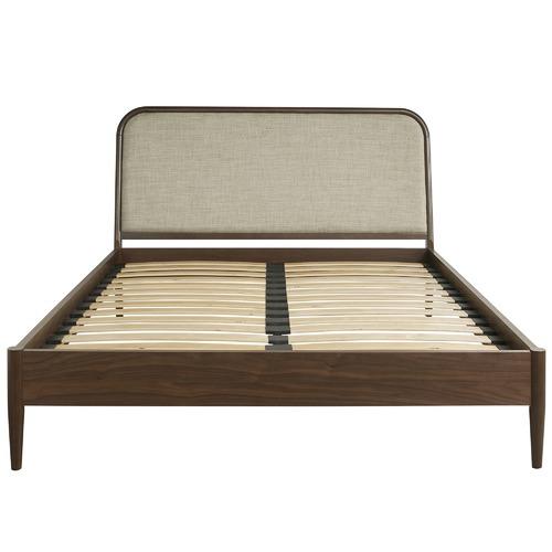 Temple & Webster Walnut Olsen European Beech Wood Queen Bed