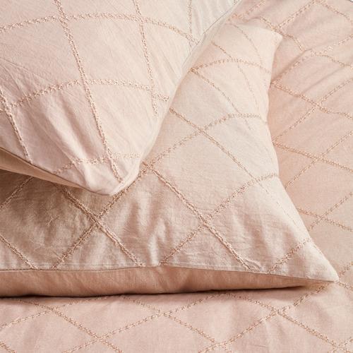 Temple & Webster Blush Jett Cotton Quilt Cover Set