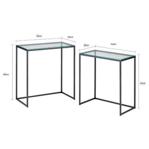 Temple & Webster 2 Piece Black Parkside Glass & Steel Nesting Tables