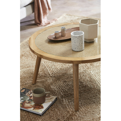 Temple & Webster Light Oak Daintree Rattan & Oak Coffee Table