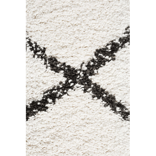 Temple & Webster Black & Cream Viona Fringed Rug