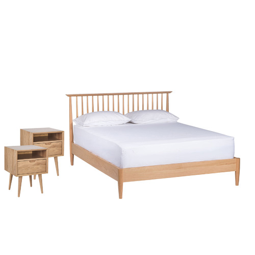 Temple & Webster Oak Olsen Spindle Square Bedroom Set