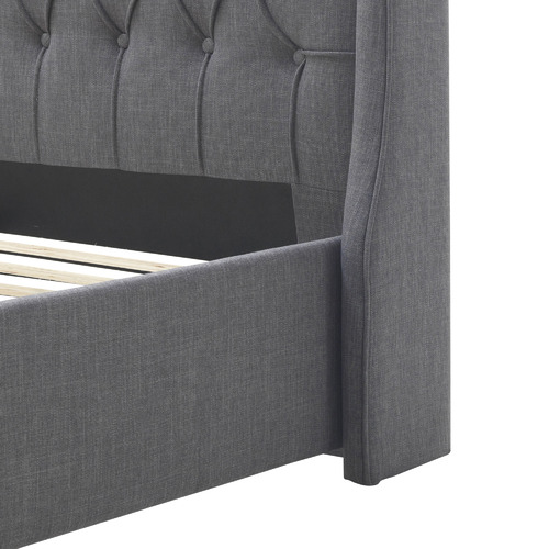 Temple & Webster Grey Audrey Tufted Wingback Bed